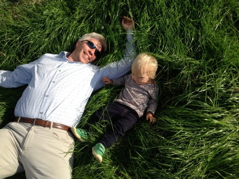 Lying in the grass with Papa.